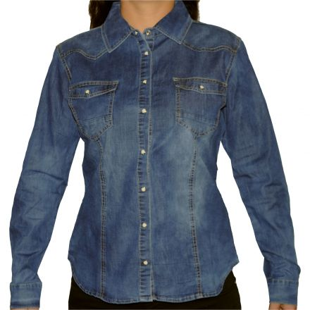 Ing Redress Jeans Wear 5089 Dark Blue Classic Denim Shirt